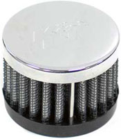 """1"""" Push-On Rubber Base Crankcase Vent Filter with Chrome Top"""
