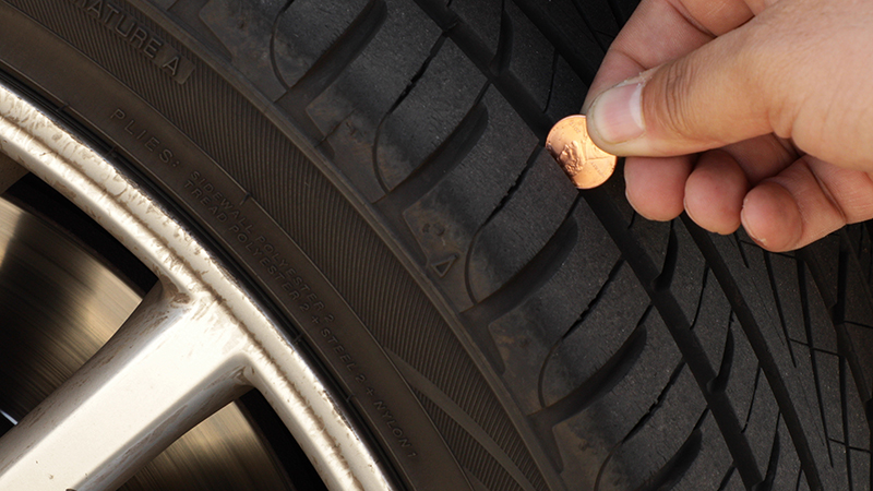 Checking tire with penny
